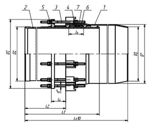 Чертеж - односторонний сальниковый компенсатор ТС579