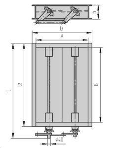 Чертеж - одноосный прямоугольный клапан ПГВУ 296-80